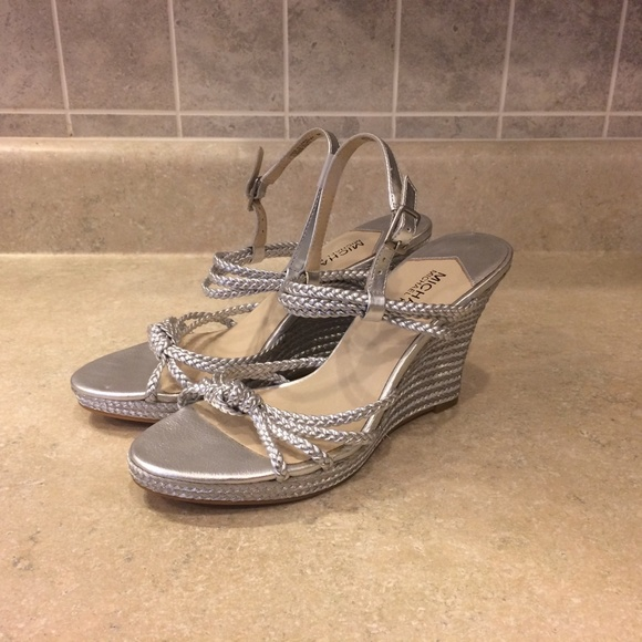 ca01e2f592a Michael Kors Size 8 Metallic Silver Wedge Sandals.  M 5aa57f2c61ca1090e58d5272